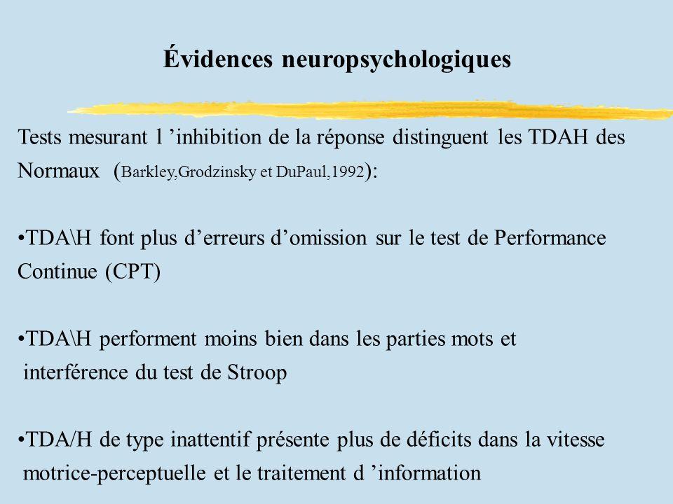 Évidences neuropsychologiques