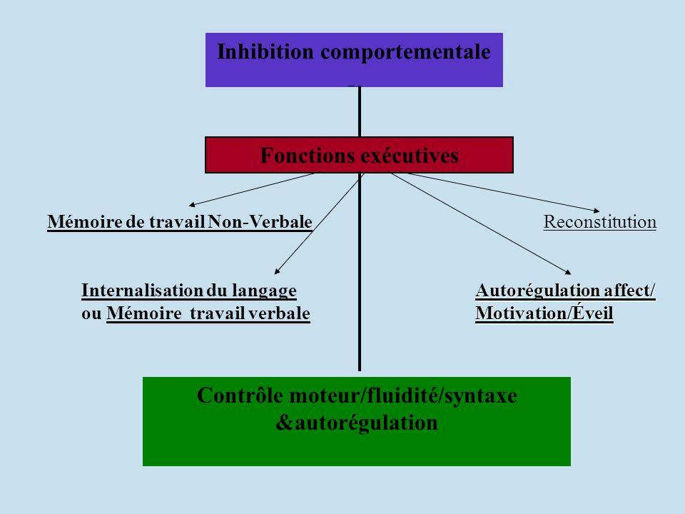 Inhibition comportementale Contrôle moteur/fluidité/syntaxe
