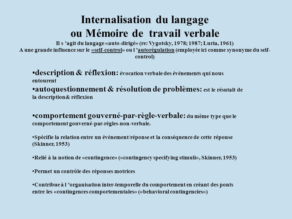 Internalisation du langage ou Mémoire de travail verbale