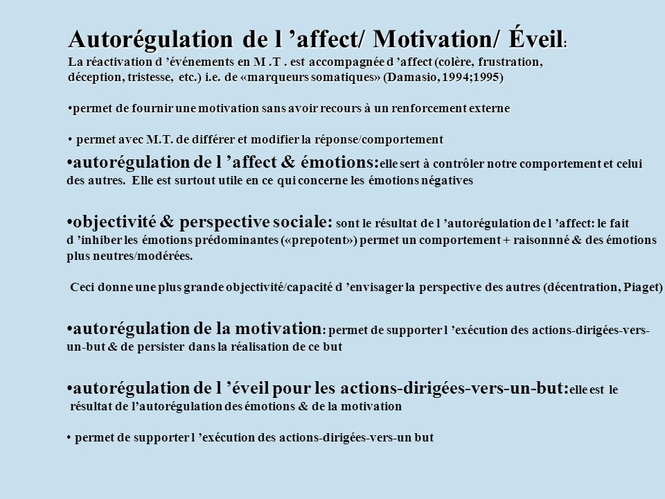 Autorégulation de l 'affect/ Motivation/ Éveil: