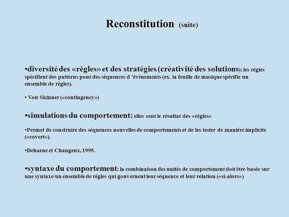 Reconstitution (suite)