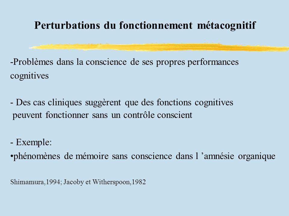 Perturbations du fonctionnement métacognitif