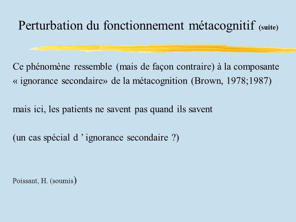 Perturbation du fonctionnement métacognitif (suite)