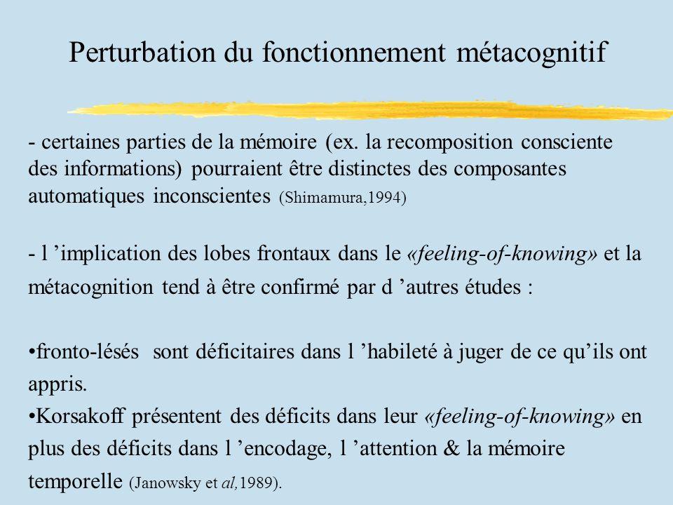 Perturbation du fonctionnement métacognitif