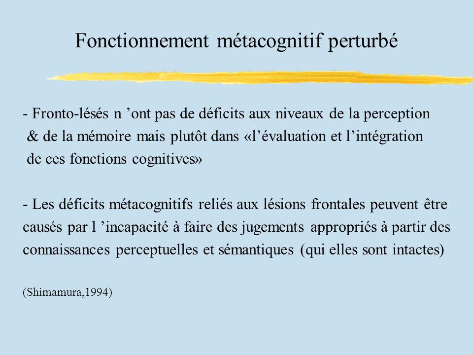 Fonctionnement métacognitif perturbé
