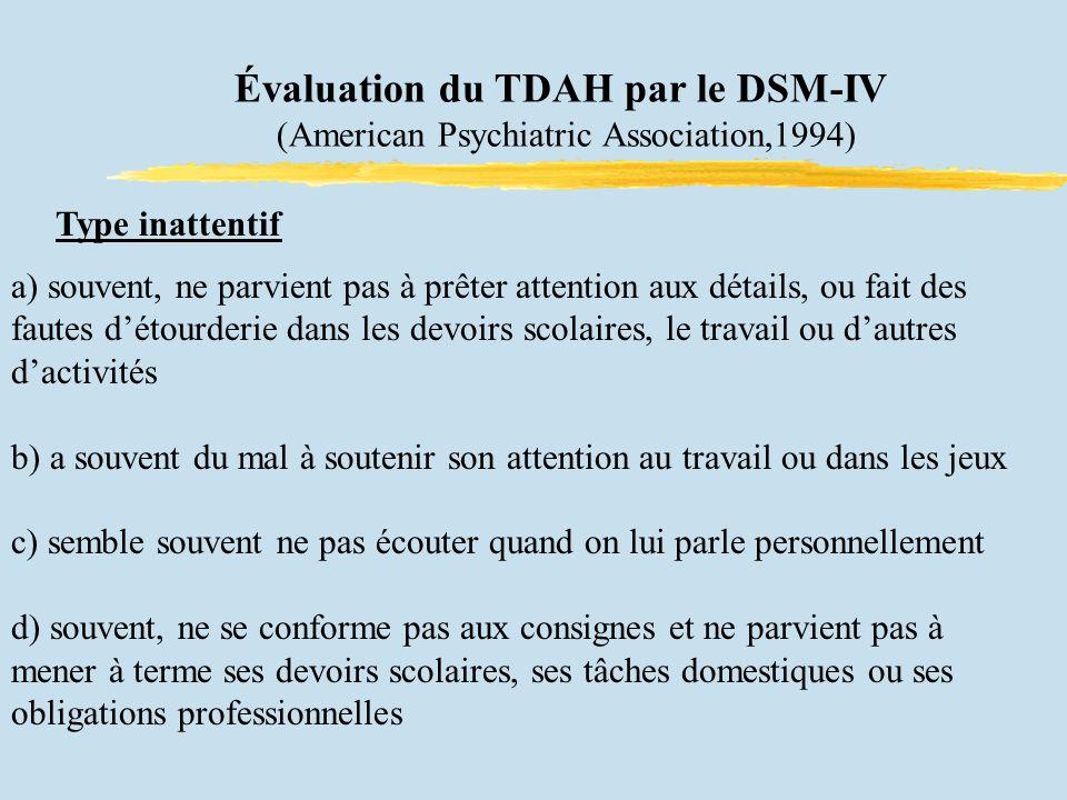 Évaluation du TDAH par le DSM-IV