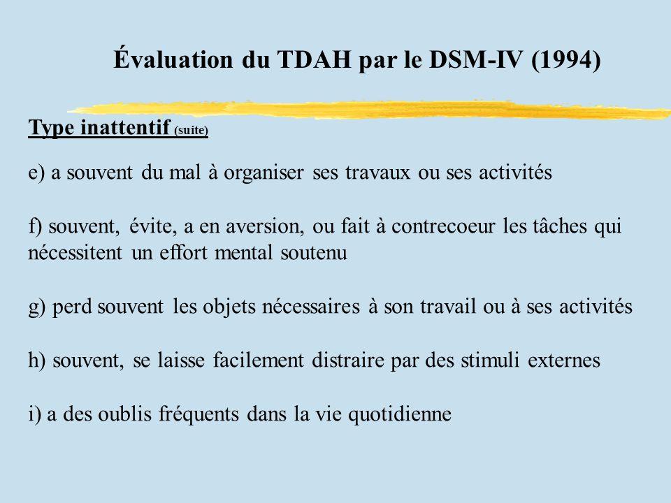Évaluation du TDAH par le DSM-IV (1994)