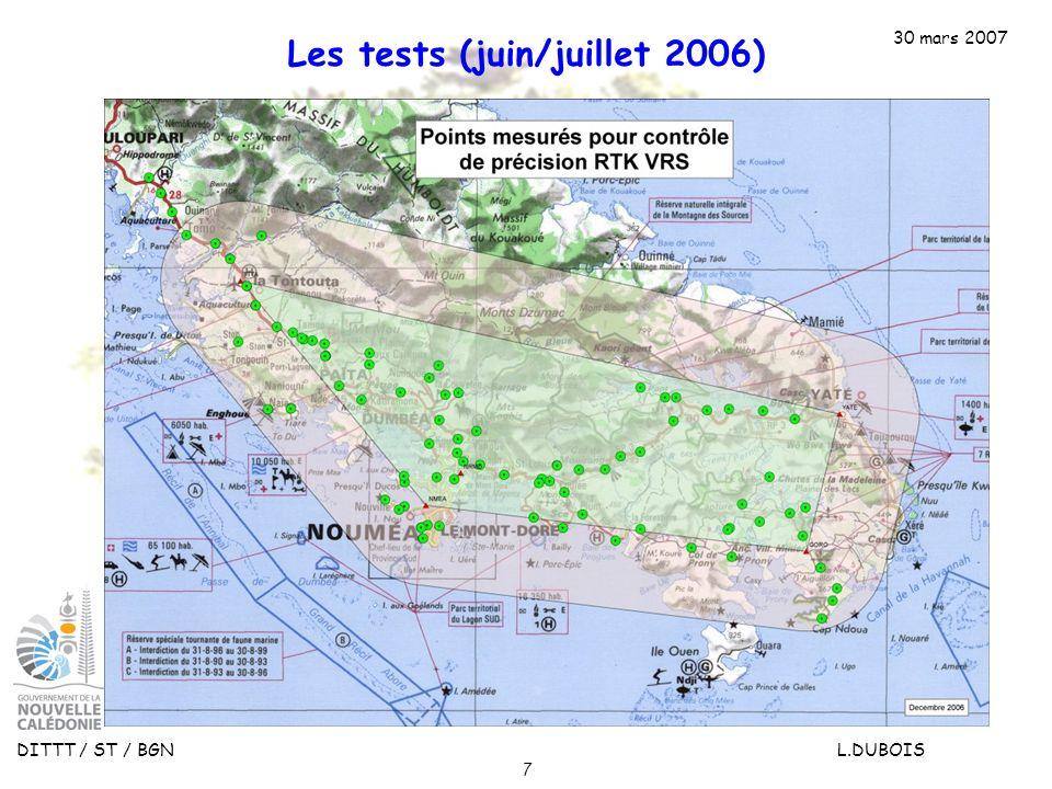 Les tests (juin/juillet 2006)
