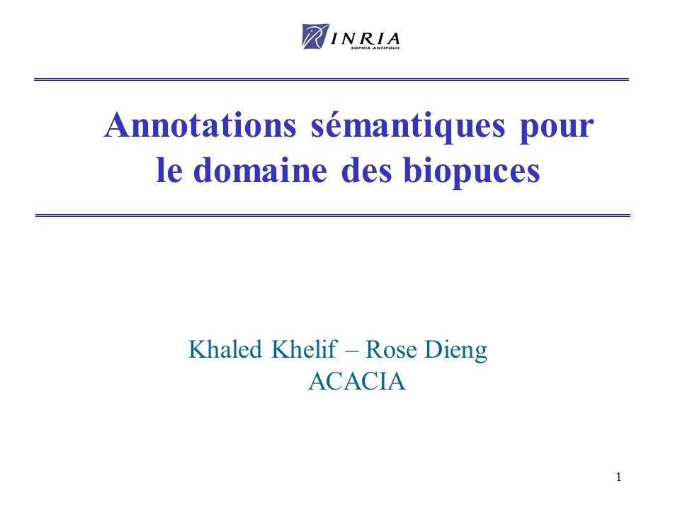 Annotations sémantiques pour le domaine des biopuces