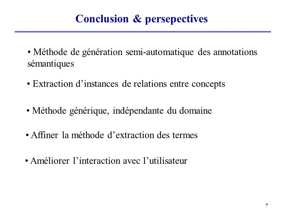 Conclusion & persepectives