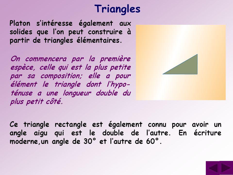 Triangles Platon s'intéresse également aux solides que l'on peut construire à partir de triangles élémentaires.