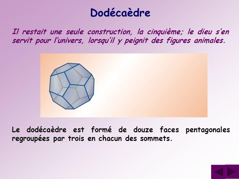 Dodécaèdre Il restait une seule construction, la cinquième; le dieu s'en servit pour l'univers, lorsqu'il y peignit des figures animales.