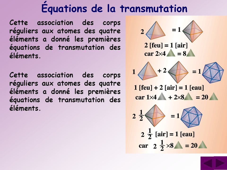 Équations de la transmutation