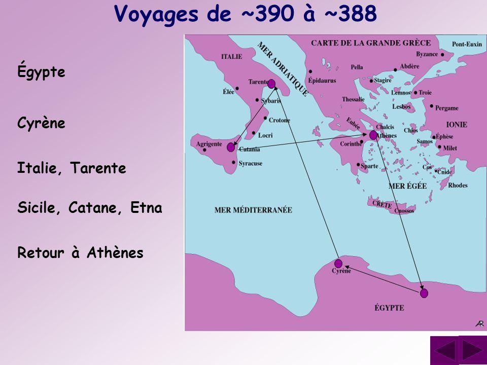 Voyages de ~390 à ~388 Égypte Cyrène Italie, Tarente