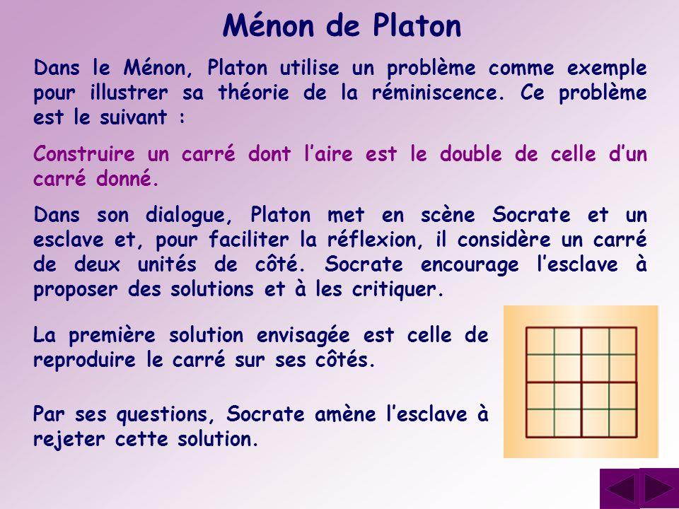 Ménon de Platon Dans le Ménon, Platon utilise un problème comme exemple pour illustrer sa théorie de la réminiscence. Ce problème est le suivant :