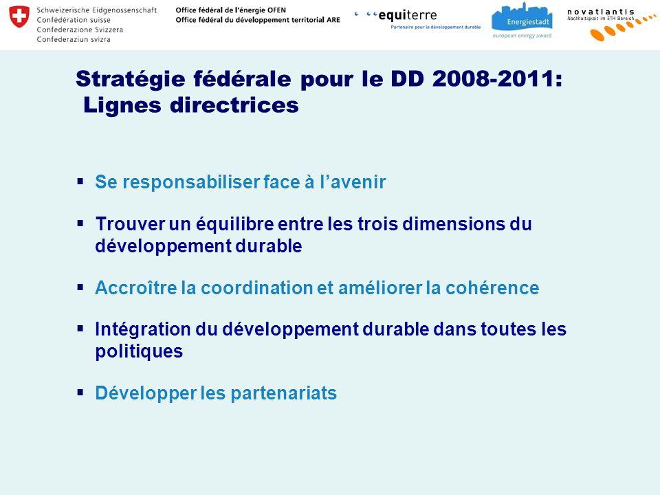 Stratégie fédérale pour le DD 2008-2011: Lignes directrices