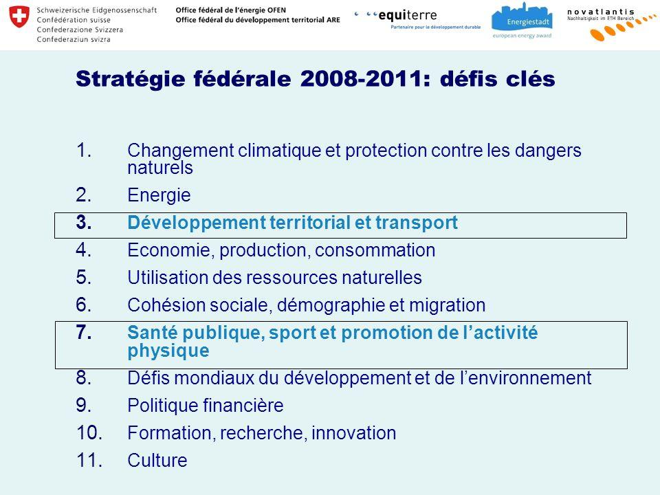 Stratégie fédérale 2008-2011: défis clés