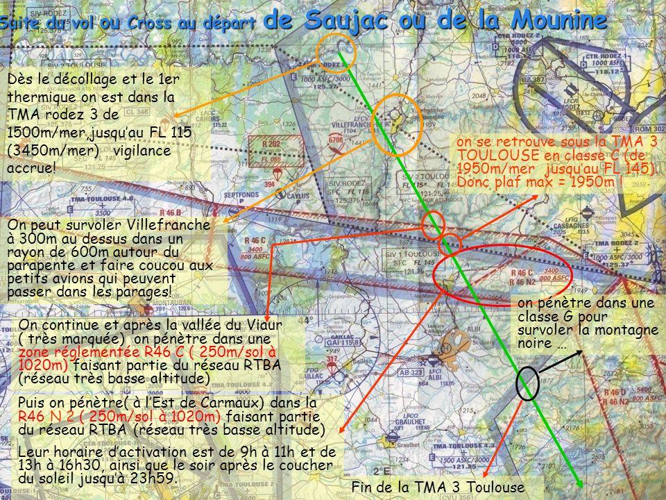 Suite du vol ou Cross au départ de Saujac ou de la Mounine