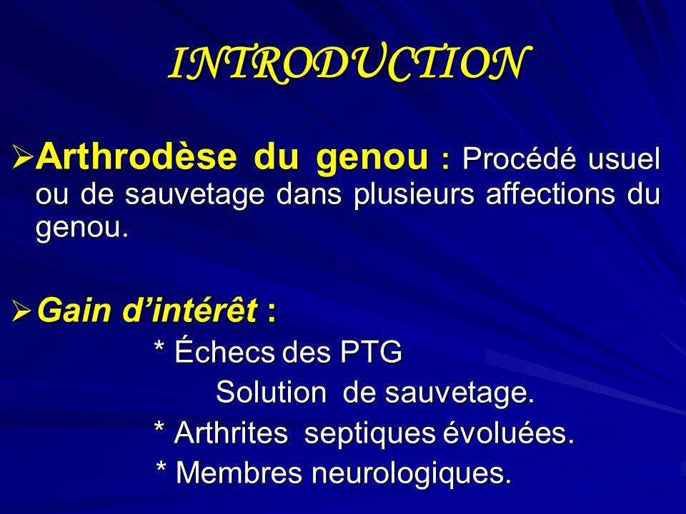 INTRODUCTION Arthrodèse du genou : Procédé usuel ou de sauvetage dans plusieurs affections du genou.