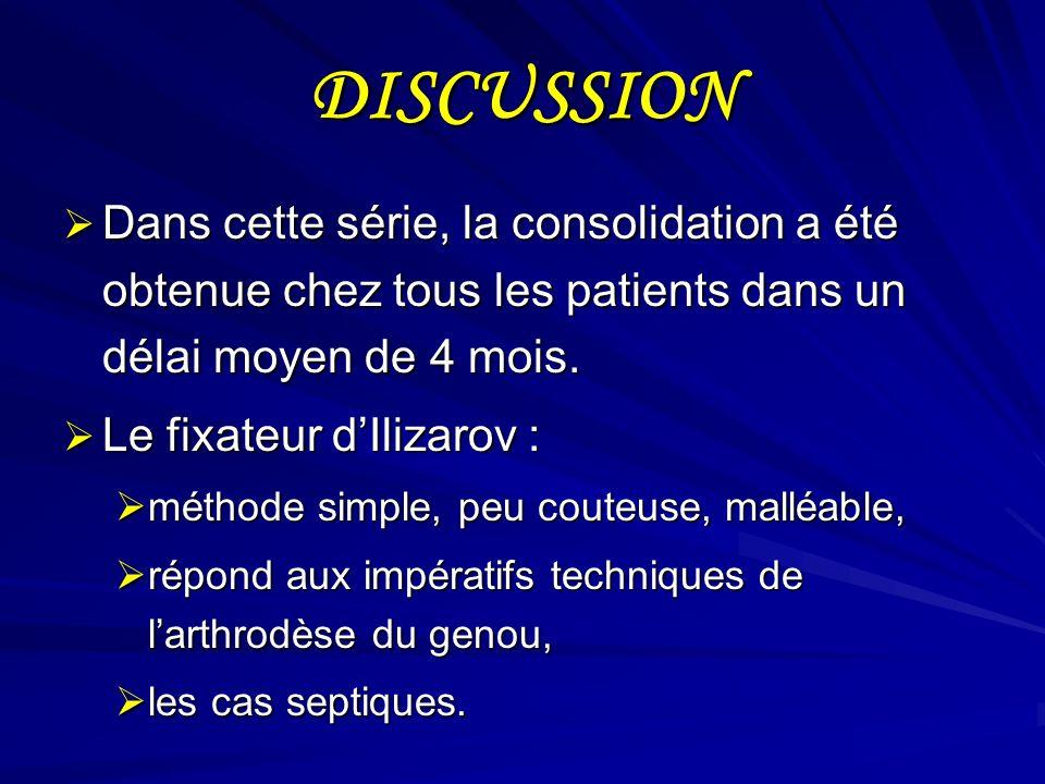 DISCUSSION Dans cette série, la consolidation a été obtenue chez tous les patients dans un délai moyen de 4 mois.