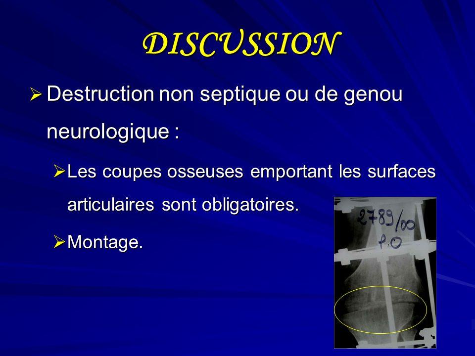 DISCUSSION Destruction non septique ou de genou neurologique :