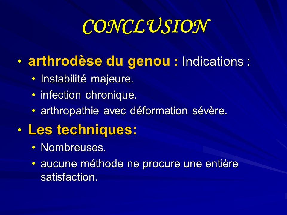 CONCLUSION arthrodèse du genou : Indications : Les techniques: