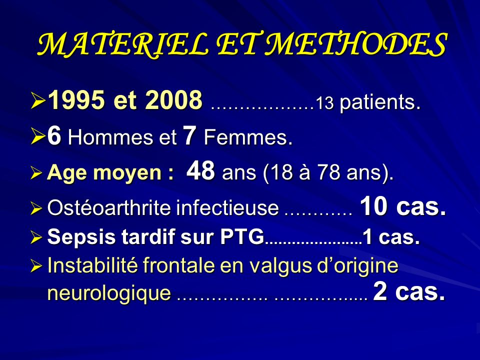 MATERIEL ET METHODES 1995 et 2008 ………………13 patients.