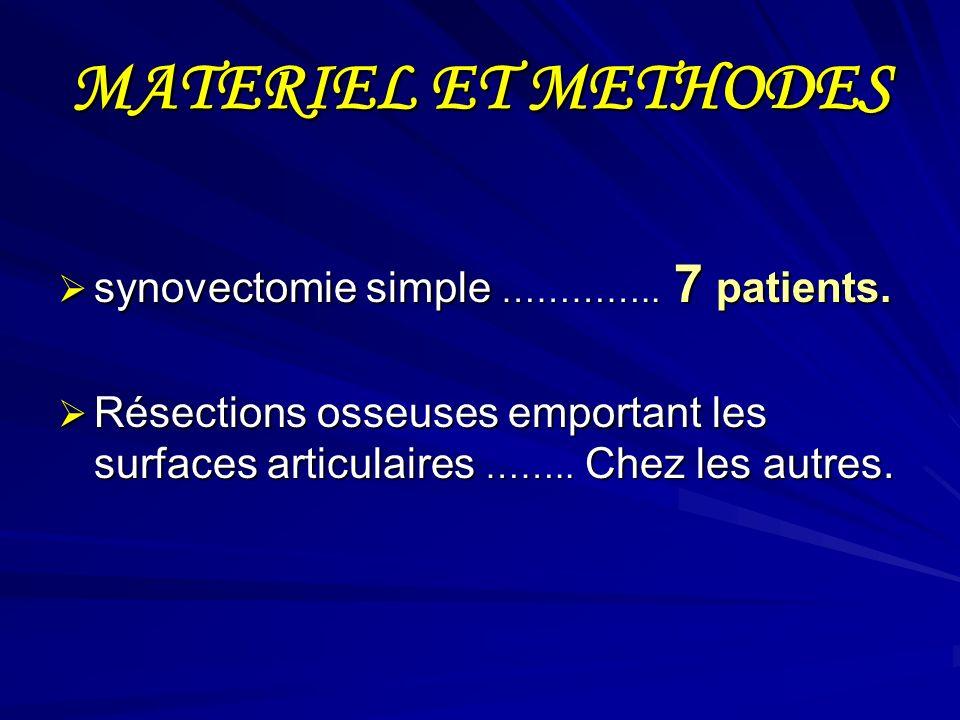 MATERIEL ET METHODES synovectomie simple ………….. 7 patients.