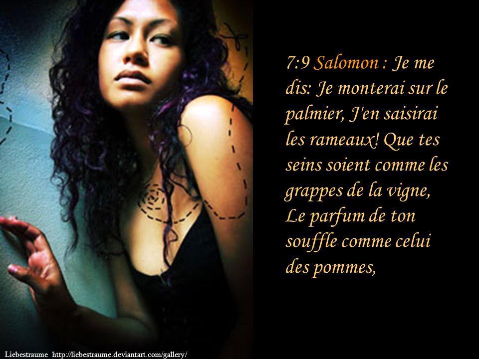 7:9 Salomon : Je me dis: Je monterai sur le palmier, J en saisirai les rameaux! Que tes seins soient comme les grappes de la vigne, Le parfum de ton souffle comme celui des pommes,