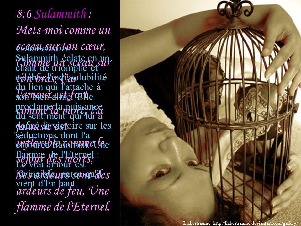 8:6 Sulammith : Mets-moi comme un sceau sur ton cœur, Comme un sceau sur ton bras; Car l amour est fort comme la mort, La jalousie est inflexible comme le séjour des morts; Ses ardeurs sont des ardeurs de feu, Une flamme de l Eternel.