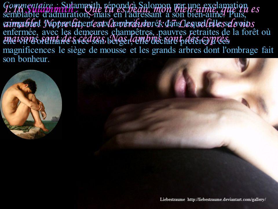 1:16 Sulammith : Que tu es beau, mon bien-aimé, que tu es aimable