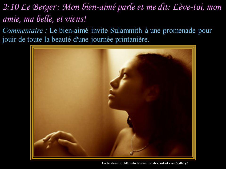 2:10 Le Berger : Mon bien-aimé parle et me dit: Lève-toi, mon amie, ma belle, et viens!