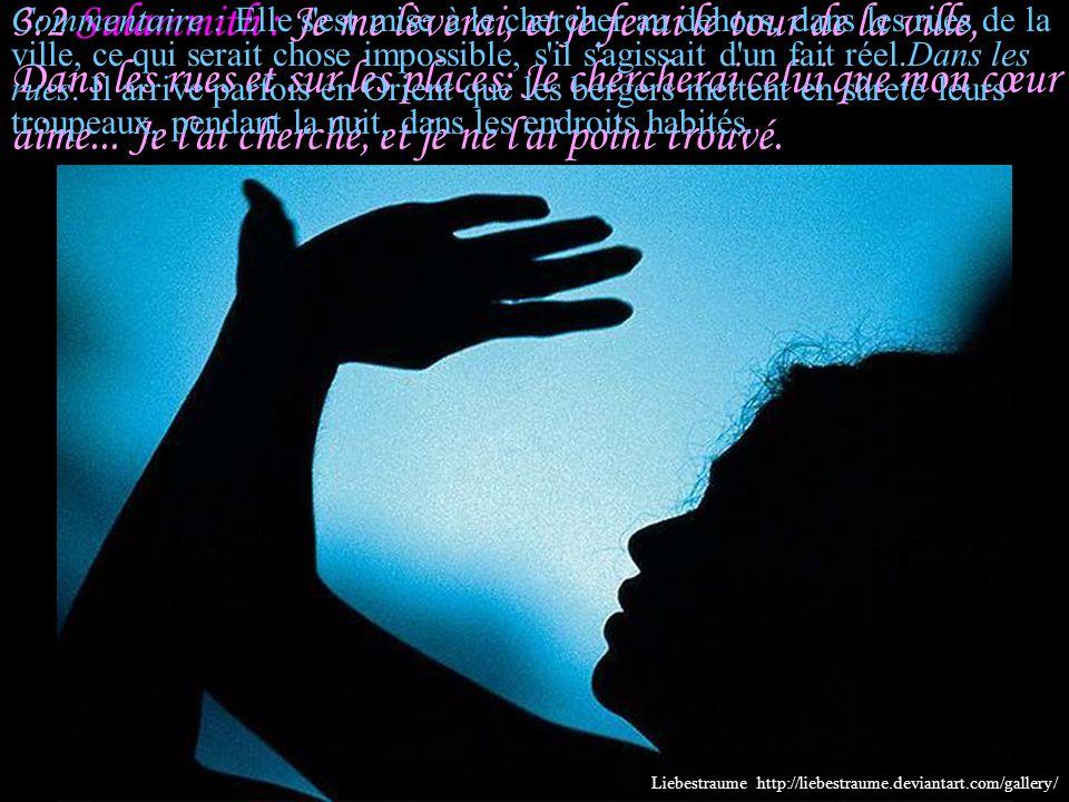 3:2 Sulammith : Je me lèverai, et je ferai le tour de la ville, Dans les rues et sur les places; Je chercherai celui que mon cœur aime... Je l ai cherché, et je ne l ai point trouvé.