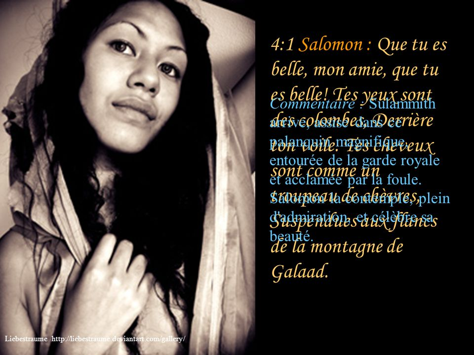 4:1 Salomon : Que tu es belle, mon amie, que tu es belle