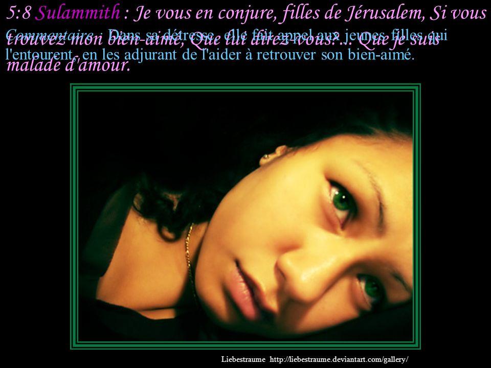 5:8 Sulammith : Je vous en conjure, filles de Jérusalem, Si vous trouvez mon bien-aimé, Que lui direz-vous ... Que je suis malade d amour.