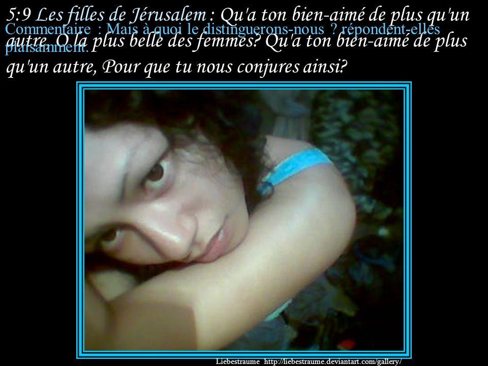 5:9 Les filles de Jérusalem : Qu a ton bien-aimé de plus qu un autre, O la plus belle des femmes Qu a ton bien-aimé de plus qu un autre, Pour que tu nous conjures ainsi