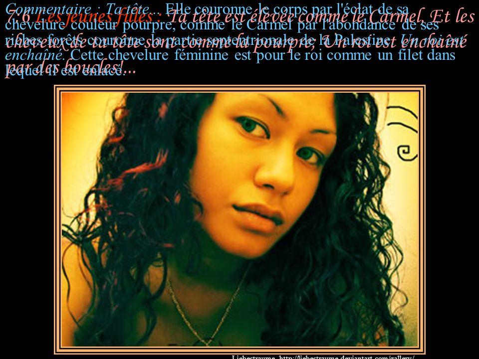 7:6 Les jeunes filles : Ta tête est élevée comme le Carmel, Et les cheveux de ta tête sont comme la pourpre; Un roi est enchaîné par des boucles!...
