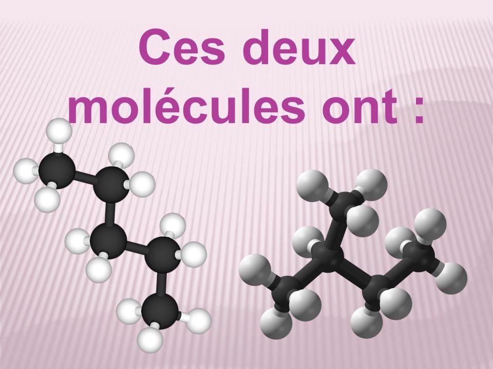 Ces deux molécules ont :
