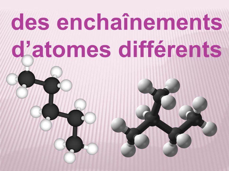 des enchaînements d'atomes différents