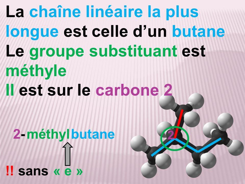 La chaîne linéaire la plus longue est celle d'un butane
