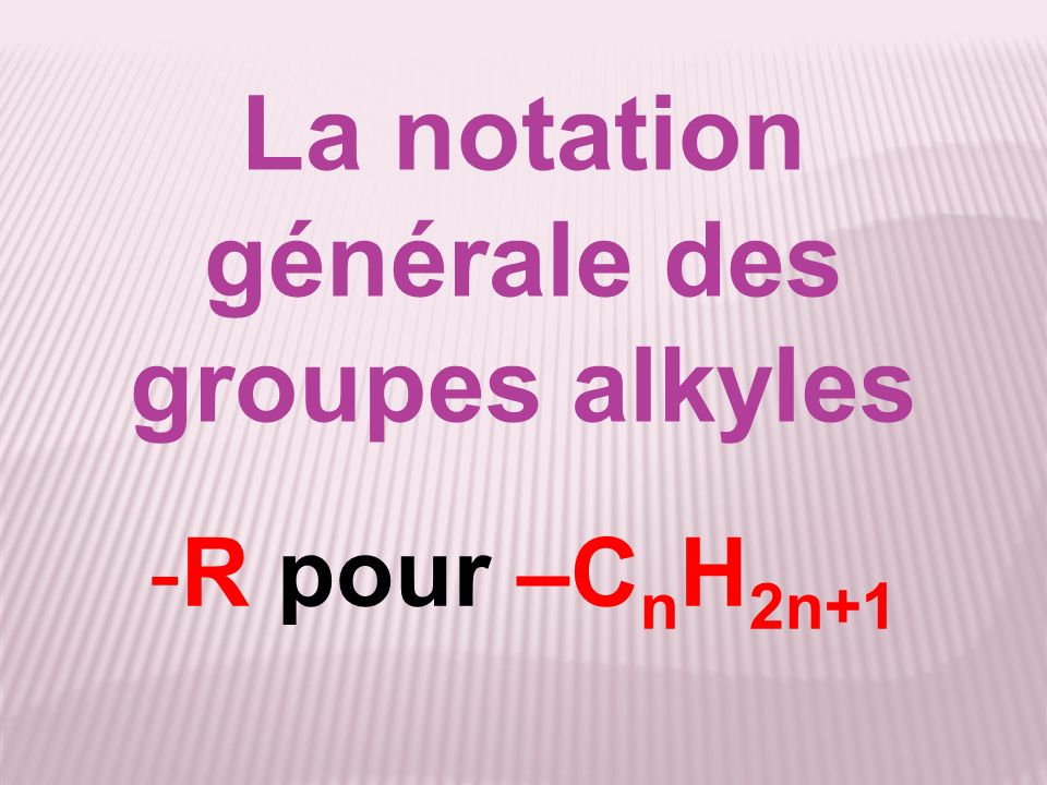 La notation générale des groupes alkyles