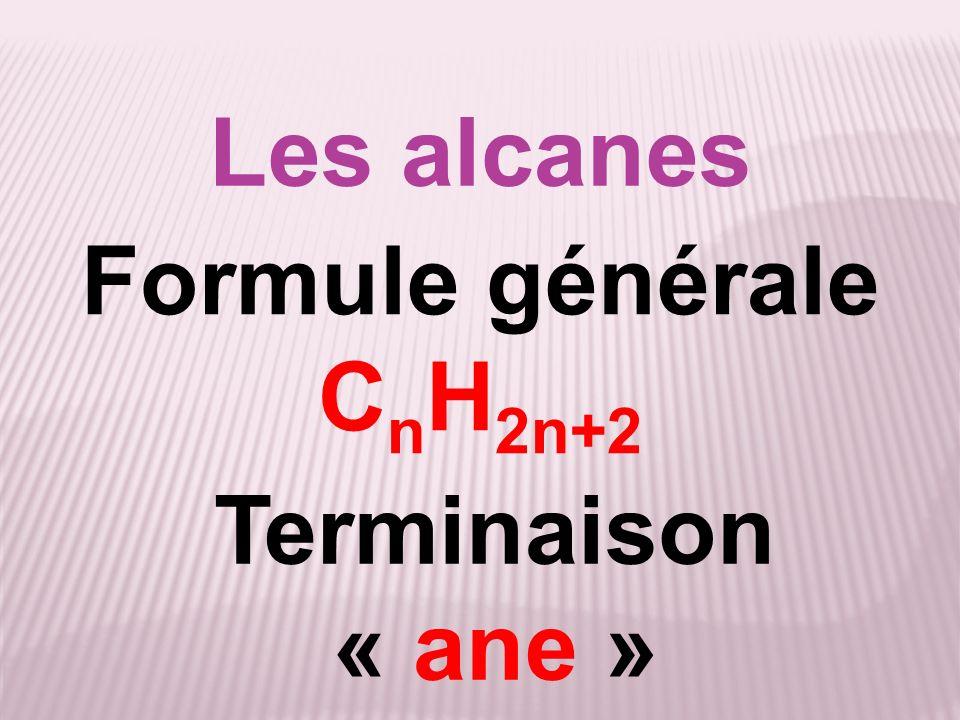 Les alcanes Formule générale CnH2n+2 Terminaison « ane »