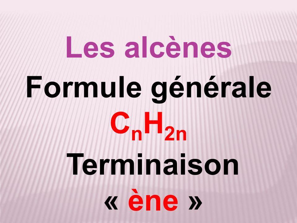 Les alcènes Formule générale CnH2n Terminaison « ène »