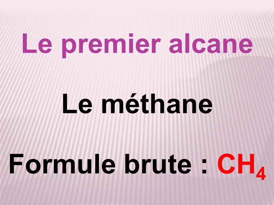 Le premier alcane Le méthane Formule brute : CH4