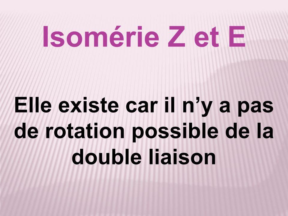 Elle existe car il n'y a pas de rotation possible de la double liaison