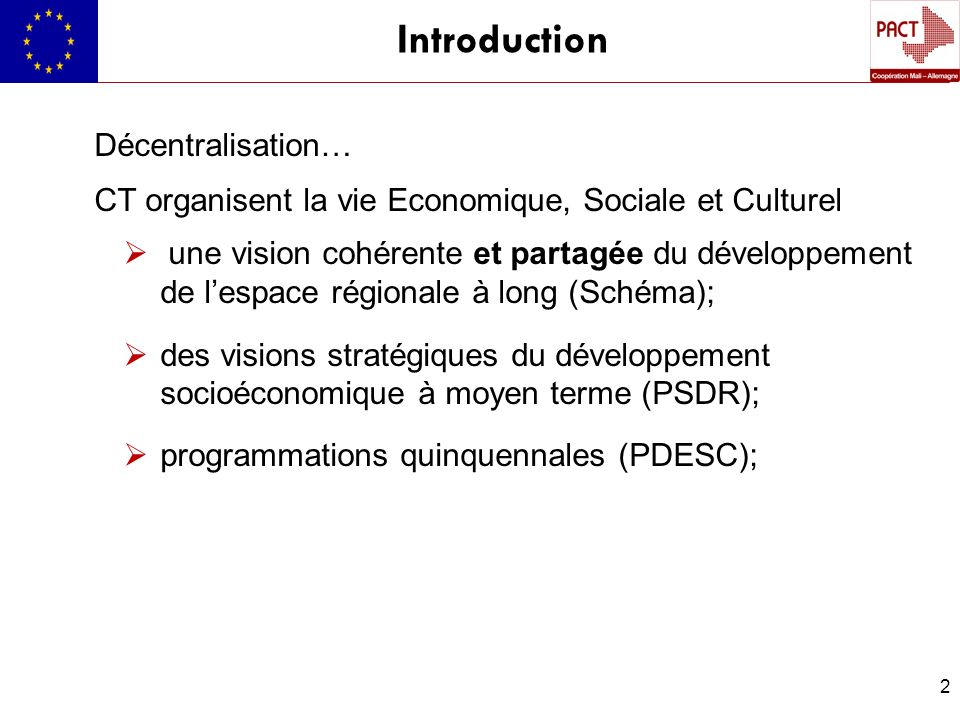 Introduction Décentralisation…