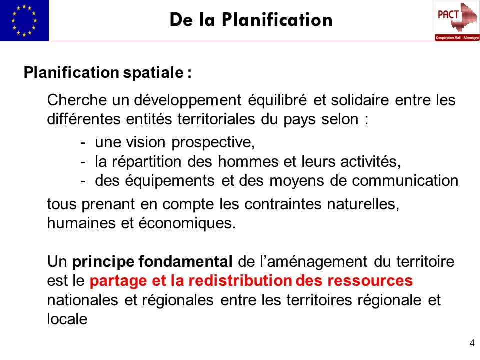De la Planification Planification spatiale :