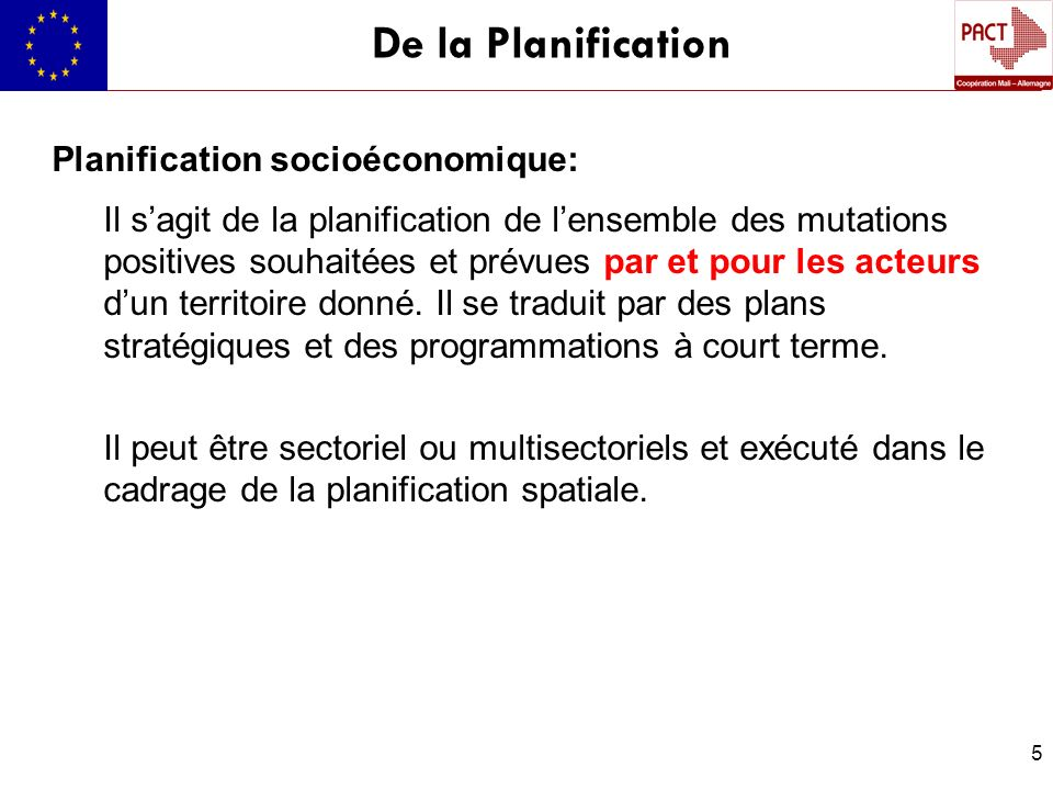 De la Planification Planification socioéconomique:
