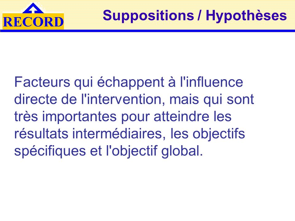 Suppositions / Hypothèses