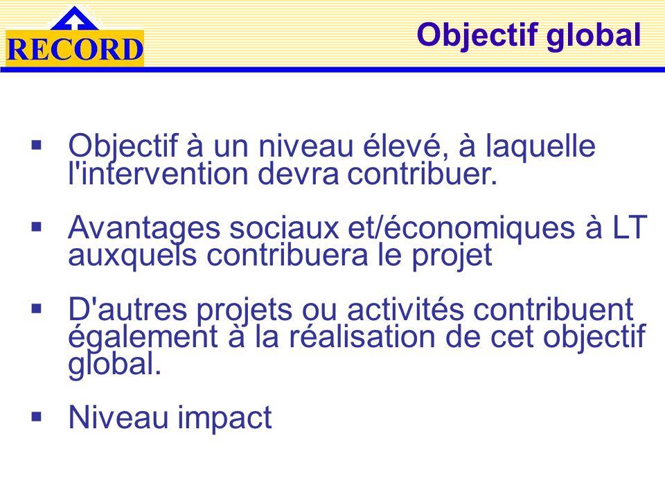 Objectif global Objectif à un niveau élevé, à laquelle l intervention devra contribuer.